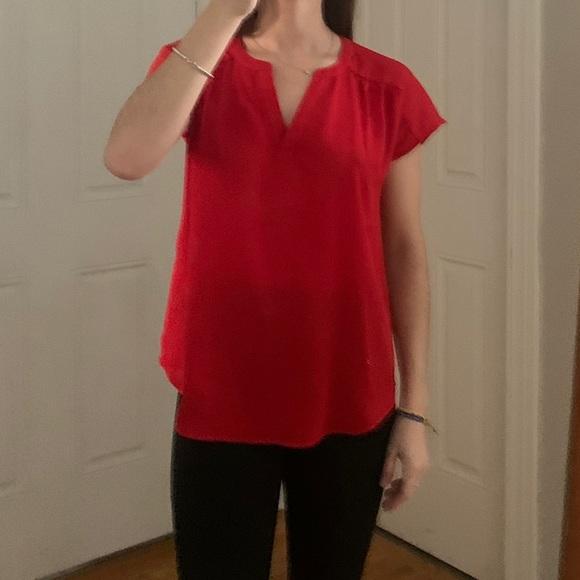 Banana Republic Red Silk T-shirt